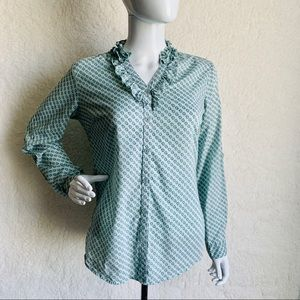 Merona Small Top Button Ruffle Paisley Blue Green